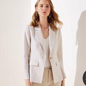 NWT Loft striped linen blend modern blazer